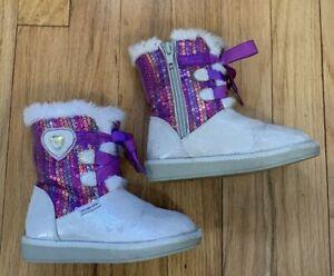 Toddler Girls DISNEY STRIDE RITE Elsa Ana FROZEN Faux Fur Snow Winter Boots US 7