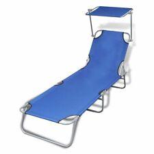 vidaXL Ligbed Inklapbaar met Luifel Staal en Stof Blauw Loungebed Bed Stoel