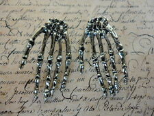 Halloween Bronze Gothic Hand Bones Skeleton Costume Jewellery Goth Stud Earrings