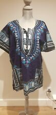 Mens African Dashiki Shirt BLUE V-Neck Thai Craft Warehouse Sz L