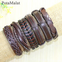 PotaMalat 6pcs Leather Bracelet Wholesale,Braided Leather Bracelet Unisex-D96