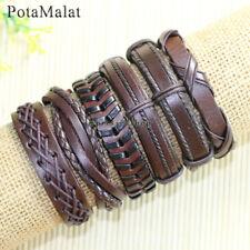 PotaMalat 6pcs Leather Bracelet Wholesale,Braided Leather Bracelet Unisex-D96