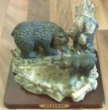Woodway Black Bear w/Cub by the Pond Decoration Room Table Decor on Wood Base