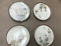 """Four Antique Japanese Satsuma With Hanging Wisteria Marked Saucer Plate 6"""""""