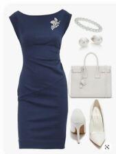 Diana Von Furstenberg Designer Navy Boat Neck Cocktail Dress Size 14