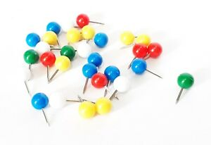 30x Coloured Drawing Push Pins Coloured/Assorted Art Craft Notice Boards, Maps