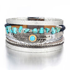 New Turquoise Feather Crystal Bead Metal Magnetic Clasp Bracelet