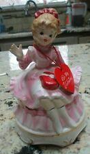 Vintage Lefton My Valentine Girl figurine Music Box Rare with hand