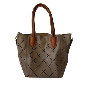 Louenhide Baby Bermuda Purse Vegan Leather Shoulder Bag Brown & Small Makeup Bag