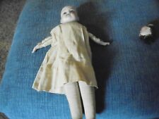 vintage doll porcelan head cloth body original dress used no eyes