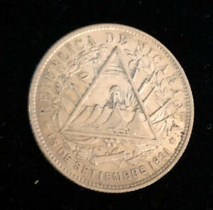 Central America Nicaragua 1887H UNC beautiful Silver coin 20 Centavos KM7