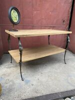 1910s Japan Finish Cast Iron/Oak Mercantile Table Industrial Victorian TV Stand
