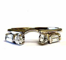 14k white gold diamond .38ct engagement ring wrap guard jacket band 2.6g estate