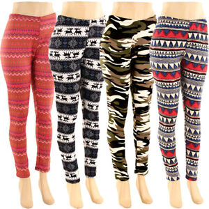 Plus Size Fur Lined Print Leggings Warm Winter Fleece Pants Fits Size XL 2XL