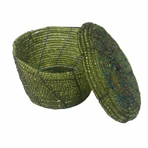"""Vintage Green Glass Seed Beaded Trinket Box Handmade Weaved Basket 3.5"""" w/ Lid"""