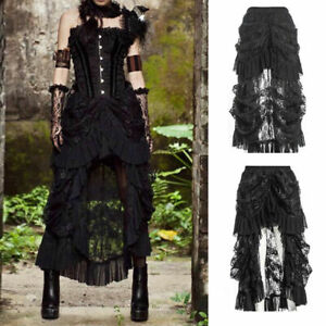 Women Retro Lace Up Ruffle Steampunk Gothic Goth Punk Rock Victorian Long Skirt