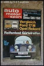AMS Auto Motor Sport 10/70 * Ford 17M Opel Rekord Morgan Plus 8 Simca 1301