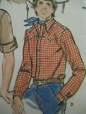 """Vintage Butterick 6239 Mens WESTERN SHIRT Sewing Pattern Chest 42"""" Neck 16"""""""