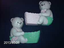 Vintage Home Interiors Set Of 2 Bear Wall Planters 