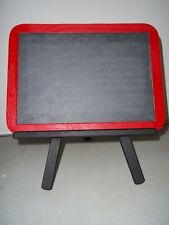 VINTAGE SLATE CHALKBOARD WOOD RED TRIM BLACK WOOD EASEL MESSAGE DESK TOP HOME