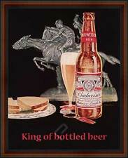 BUDWEISER, King of Bottled Beer. Framed Vintage AD Poster Reproduction. Walnut