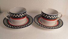 2 Sets International Tableworks Ella's Rooster Cups  Saucers Bob Timberlake #106