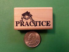 """""""Practice"""" Owl - Wood Mounted Teacher's Rubber Stamp"""