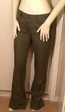 Massimo Duti Woman Khaki Linen Trousers Pants Comfortable Relaxed Fit Size 6
