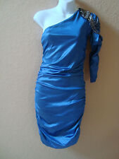 New Rare Fashion Embellished One Shoulder Slinky Cobalt Blue Dress UK 12 US 8
