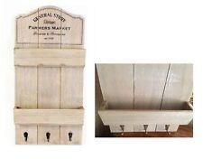 Shabby Chic Rustic Letter Rack Vintage Storage Shelf Wall Unit Key Hanging Hooks