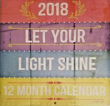 """NEW Let Your Light Shine 12 Month 2018 Wall Calendar 12""""X24"""""""