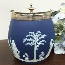 Antique Wedgwood Cobalt Blue Jasper Design Biscuit Barrel  * p40w