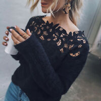 Women Long Sleeve Lace Sexy Fluffy Sweater Jumper Pullover Tops Blouse Shirt UK