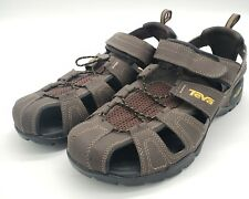 TEVA Men's FOREBAY Brown Leather Shocpad Water Hiking Sandals Shoes 11