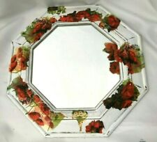 """Upcycled Crafted White Poppy Design Decoupage Octagonal Mirror 14"""" inches"""