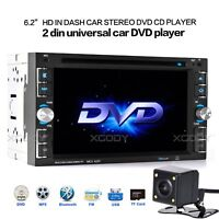 "Car Stereo Radio DVD CD MP5 Player 6.2"" Touch Screen Bluetooth 2DIN + Rear Cam"