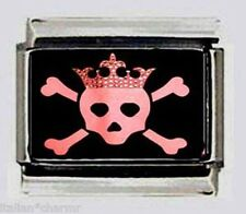 Skull Princess with CROWN Bones pink Italian photo 9mm Charm for bracelets