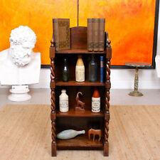 Oak Open Bookcase Carved Barley Twist Bookshelves Solid Antique Vintage