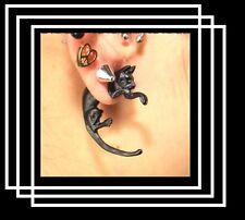 paire de boucles d'oreilles recto verso CHAT NOIR fille enfant bijoux fantaisie