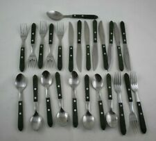 25 Pieces Vintage Washington Forge Town & Country Green Wood Handle Flatware