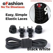 Elastic Shoe Lock Laces Sport Sneakers No Tie Lazy Shoelace Genuine Black White
