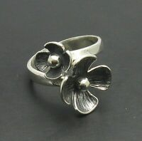 Genuine sterling silver ring Flower solid hallmarked 925 adjustable size