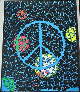 Vintage 1970s Universal PEACE Blacklight Poster