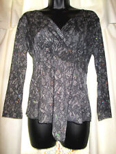 Susan Lawrence Womens Size S Top V-Neck Long Sleeve Lace Look Print/ Sequin Trim