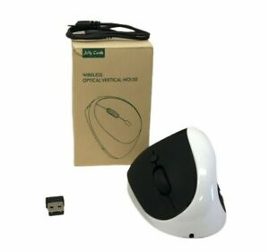 Jellycomb Rechargeable Wireless Optical Vertical Mouse White & Black Open Box