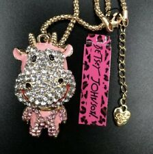 Betsey Johnson Crystal Cow Gold Pendant Chain Necklace Free Gift Bag