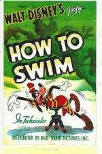 WALT DISNEY GOOFY HIGH GLOSS MOVIE POSTER HOW  TO SWIM 11 X 17 COLLECTORS ITEM