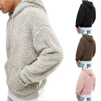 Mens Fluffy Fleece Hoodies Coats Winter Long Sleeve Outerwear Sweater Pullover