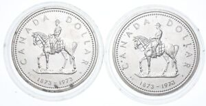 Lot Of 2 1973 & 1973 Canada Canadian Silver Dollar Coin .500 Silver 50% *638