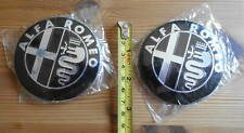 2 Alfa Romeo Embleme/Plaketten,schwarz,Schrift silber, ø=74 mm, mit Montagefolie